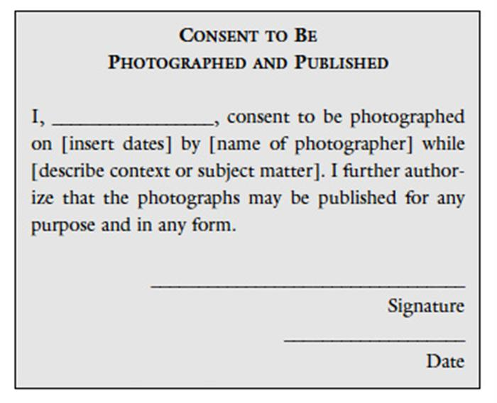 The role of permission in photography educational for Photography permission form template